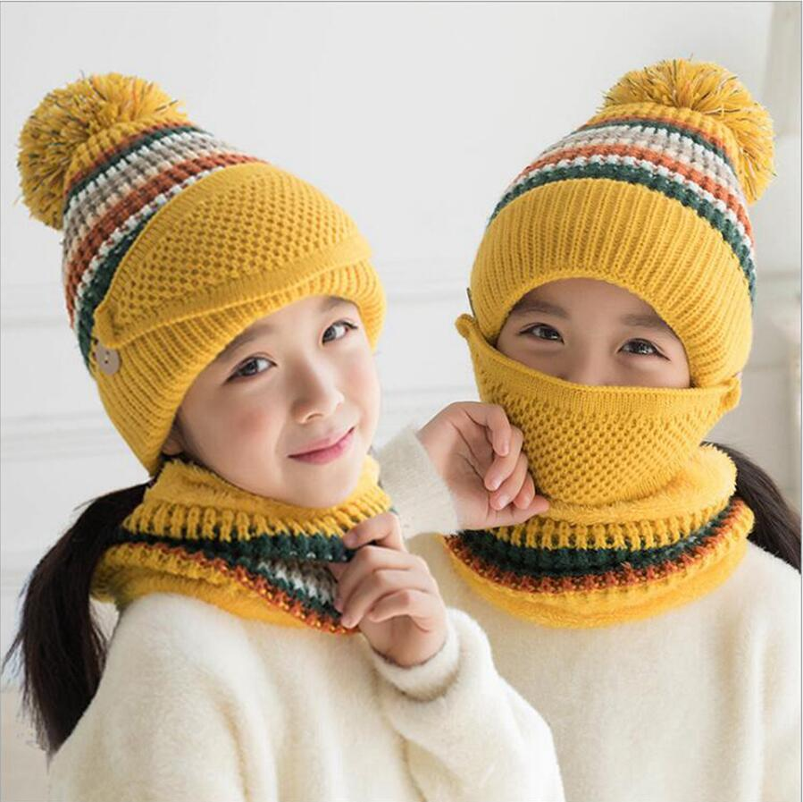 Children Knitted Mask Hat Scarf Thick Warm Winter Riding Sets Girls Fashion Breathable Beanies Mask Scarf Wool Cap DDA806