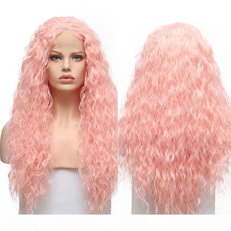 Quinlux parrucche rosa riccia parrucca lunga per le donne costume cosplay lolita capelli resistente al calore fibra africana parrucca anteriore in pizzo sintetico africano