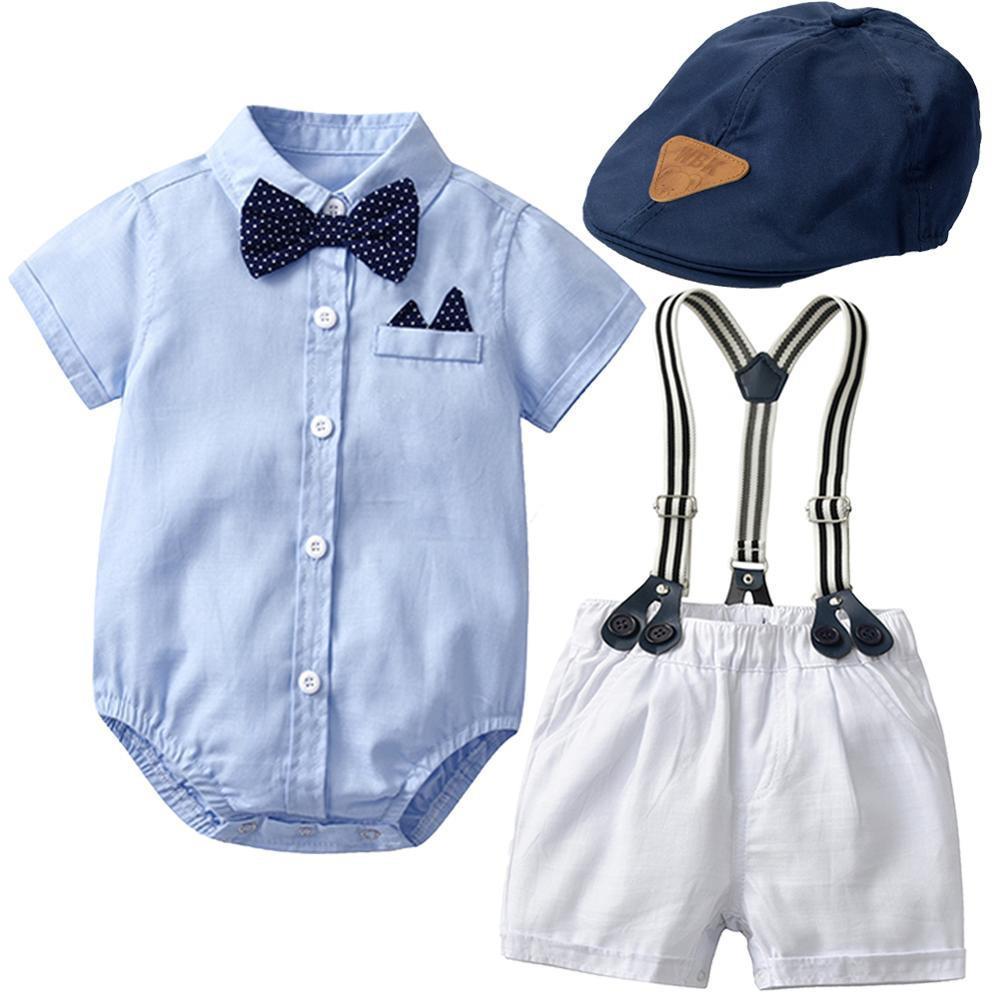Neugeborene Kleidung 5 Stücke / Set Baby Junge Sommer Anzug Himmel Blau Strampler + Hut + Weiße Shorts Little Gentleman Kleidung Sets für 24 m Z1214