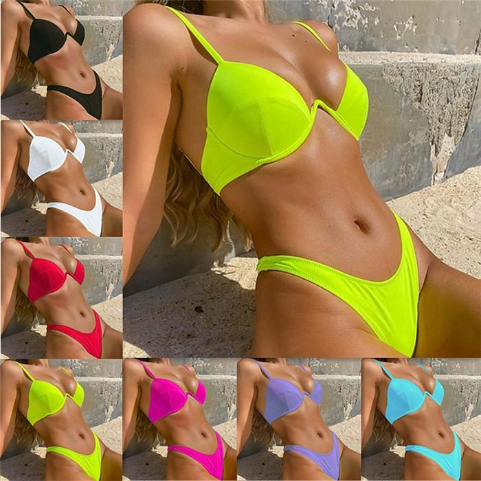 Solid Color Womens Swimwear Sexy Hard Cup Gathered Bikini With Chest Pad Summer Fashion Sexy Women swimsuit