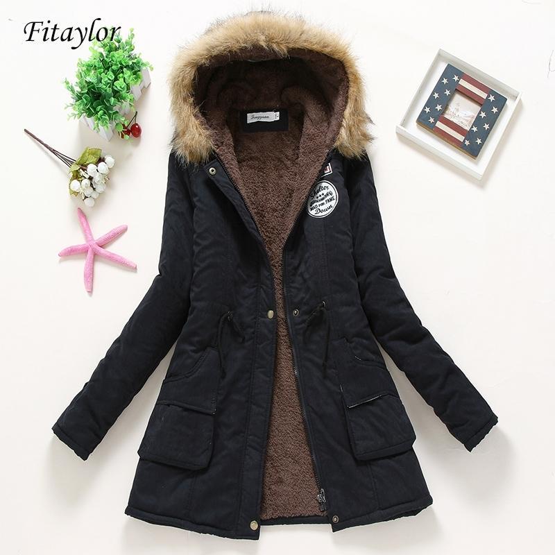 FitAylor Nuevo invierno abrigos acolchados mujeres algodón chaqueta de algodón mediano larga parkas grueso cálido quilt edredón snowwear abrigos 210203