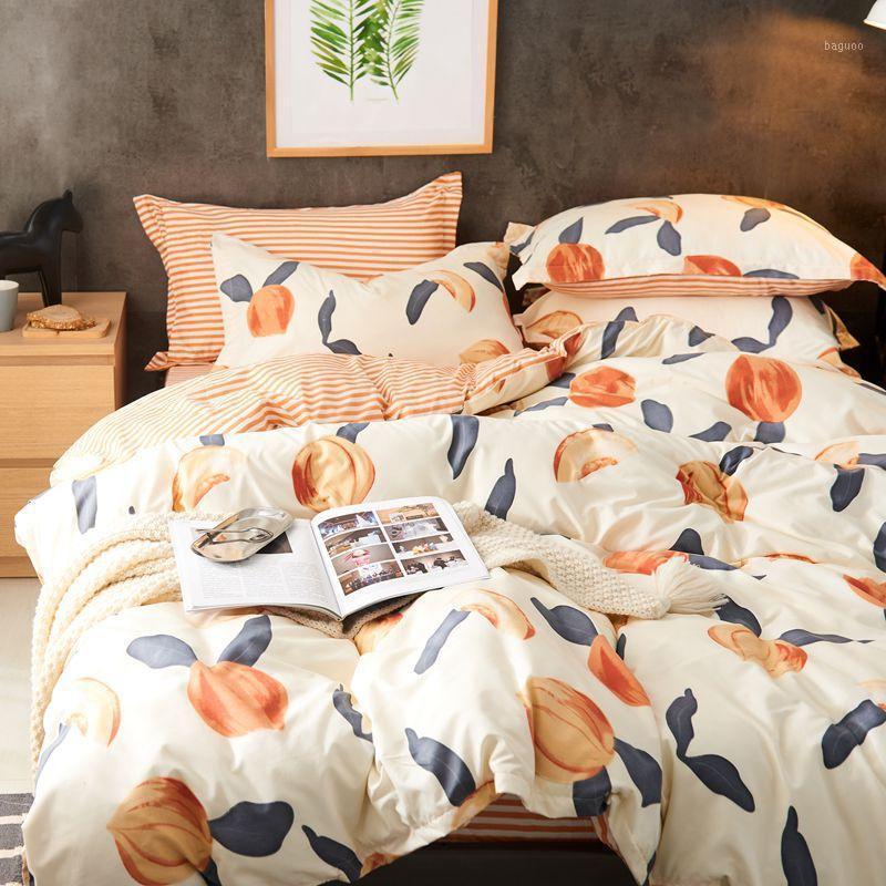 Denisom Lindo Peach Peacher Setting Set de ropa de cama Blanco Ropa de cama Funda de edredón Set Reina King Twin Size SA99 * 1
