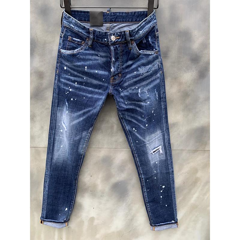 dsquared2 jeans Jeans Italie Mode Slim Fit Motocycle Motocycle Denim Pantalon Panalassé Hip Hop déchirant Stretch Black Pantalon chaud