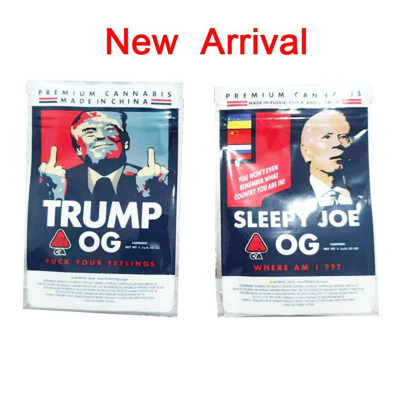 Più nuovo Trump OG Sleepy Joe OG 3 5G BAG BAG BAG BAGS SIGNITORI SIGNIFICATO SIGNORATO PIATTO PIATTO PIATTO 420 Herb Dry Herb Flower Packing Borse Biscotti Borsa Edibles
