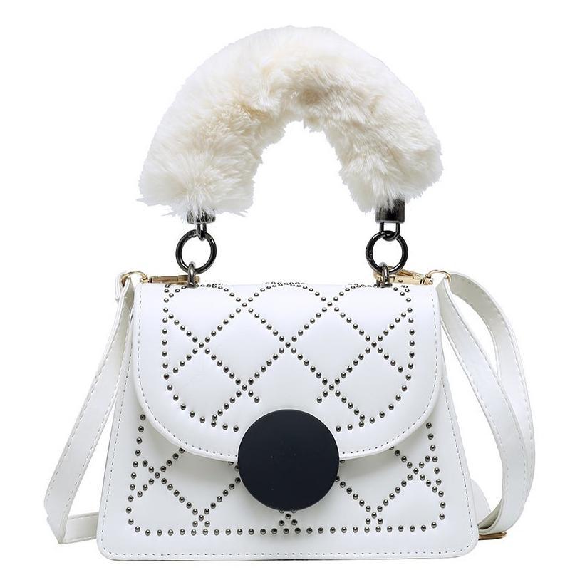 HBP Women Shoulder Bag Furry Plush Handle Handbag Purse Ladies Tote Bag Hasp Flap Messenger Bags Girls Cross Body Bag Free shipping