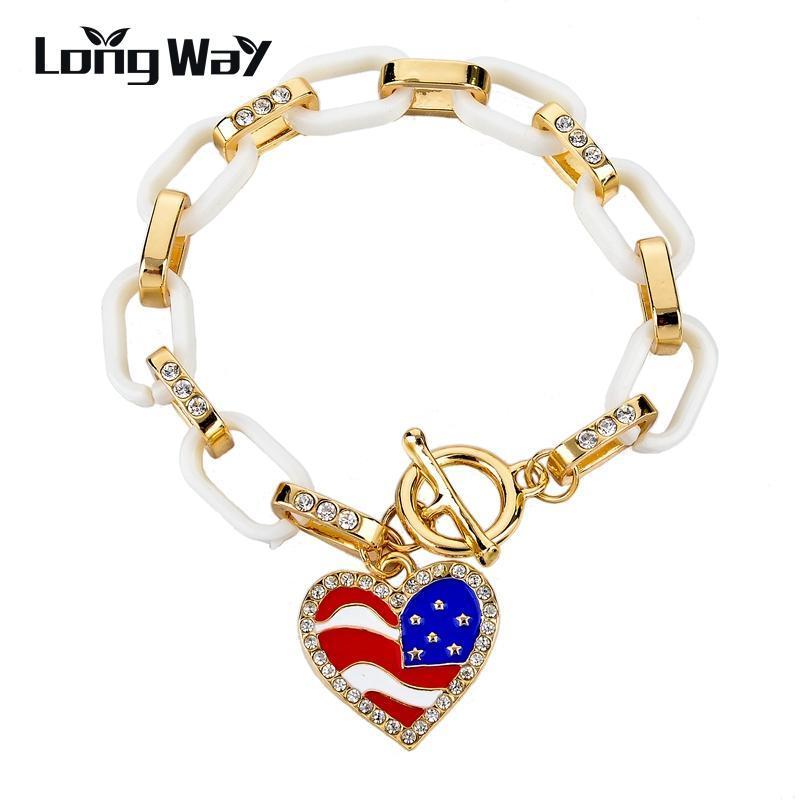 Longway Прибытие Большой Шарм Сердце Браслеты Браслеты Цепочка Золото Цвет Женщины браслеты Vintage ювелирные изделия Заявление Sbr150383103