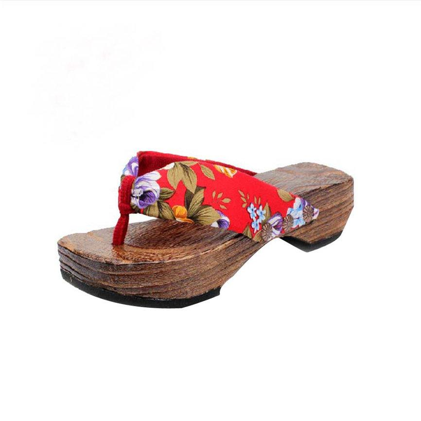 Women Shoes Summer Sandals Platform Shoes Wood Women Sandals Clog Wooden Slippers Flip Flops Casual Beach Shoes For Ladies Women