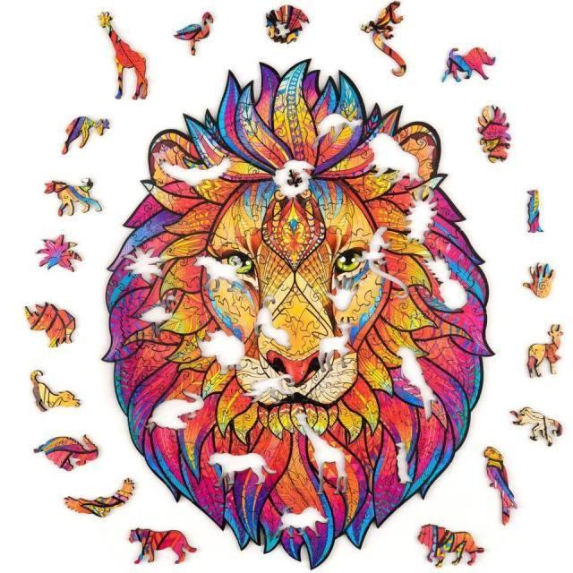 Животные деревянные головоломки головоломки, лучший подарок для взрослых и детей, различные животные льва уникальные формы Jigsaw кусочки для детей рождественские игрушки 196 шт.