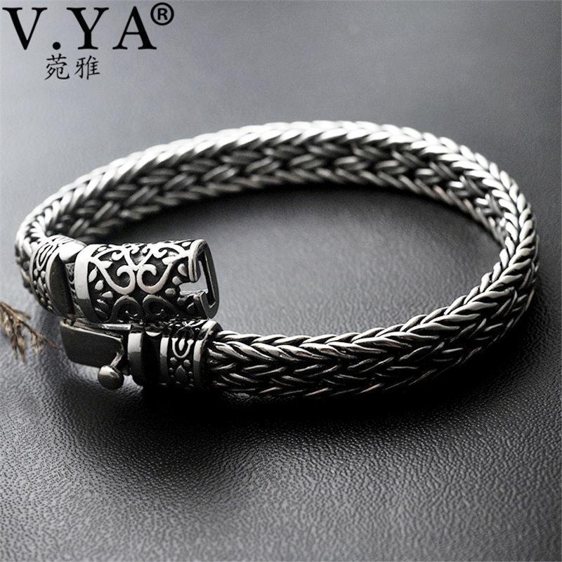 V.Ya Cool 925 Sterling prata larga pulseiras pesadas para homens design design masculino pulseira tailandesa jóias de prata quente lj201020