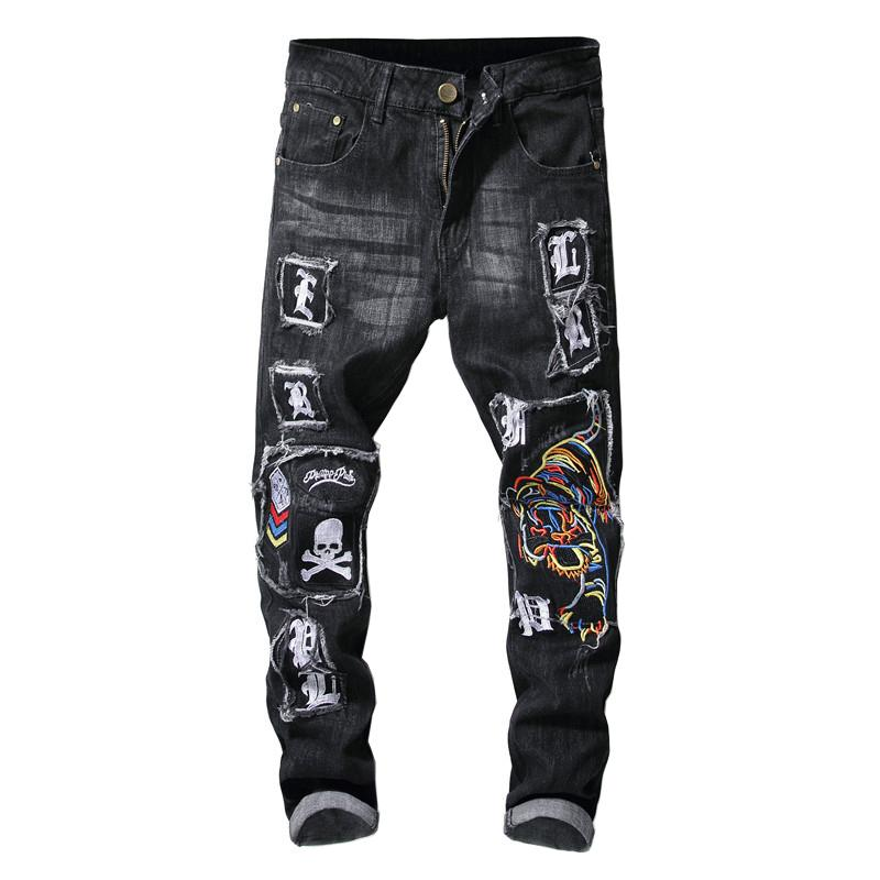 Sokotoo Men's Tiger Skull Embroidery Black Jeans Trendy Slim Stretch Ripped Deim Pencil Pants Patch Design Trousers