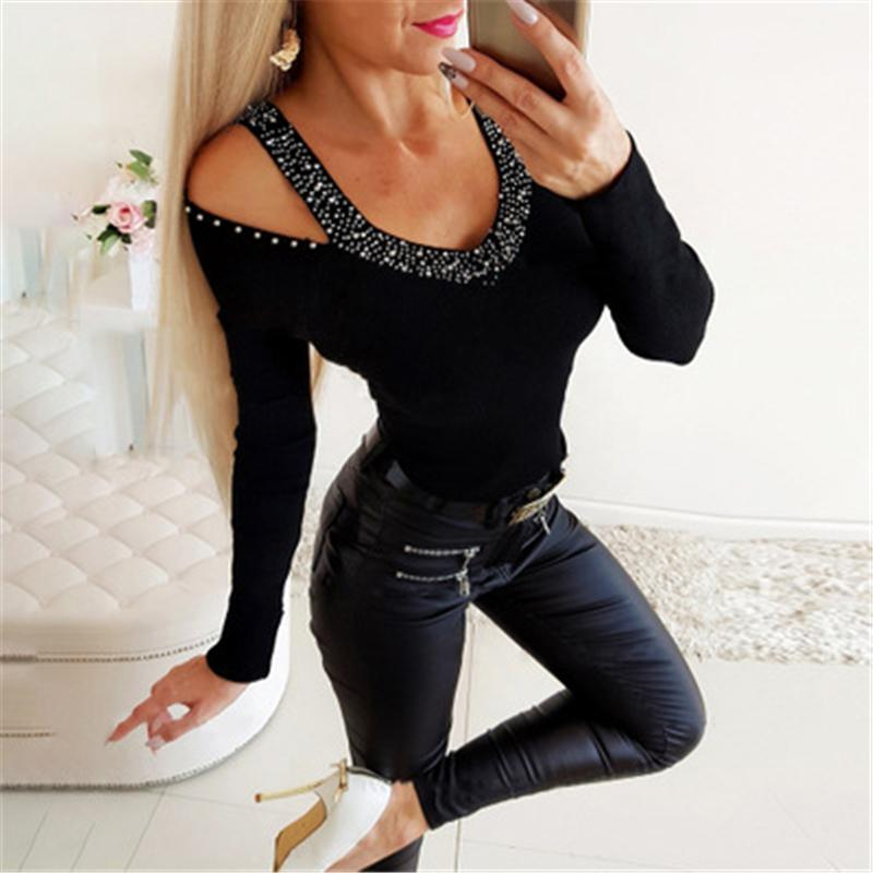 Girl Strapless Hot Drilling T-shirts Fashion Trend V Neck Long Sleeve Solid Colors Skinny Tops Designer Female Spring New Casual Slim Tshirt