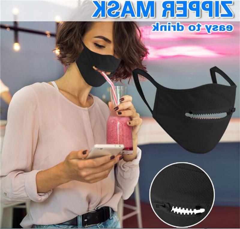 Máscara vendedor creativo cremallera cara superior diseño de la cremallera fácil de beber reutilizable lavable cubierta protectora Máscaras de diseño