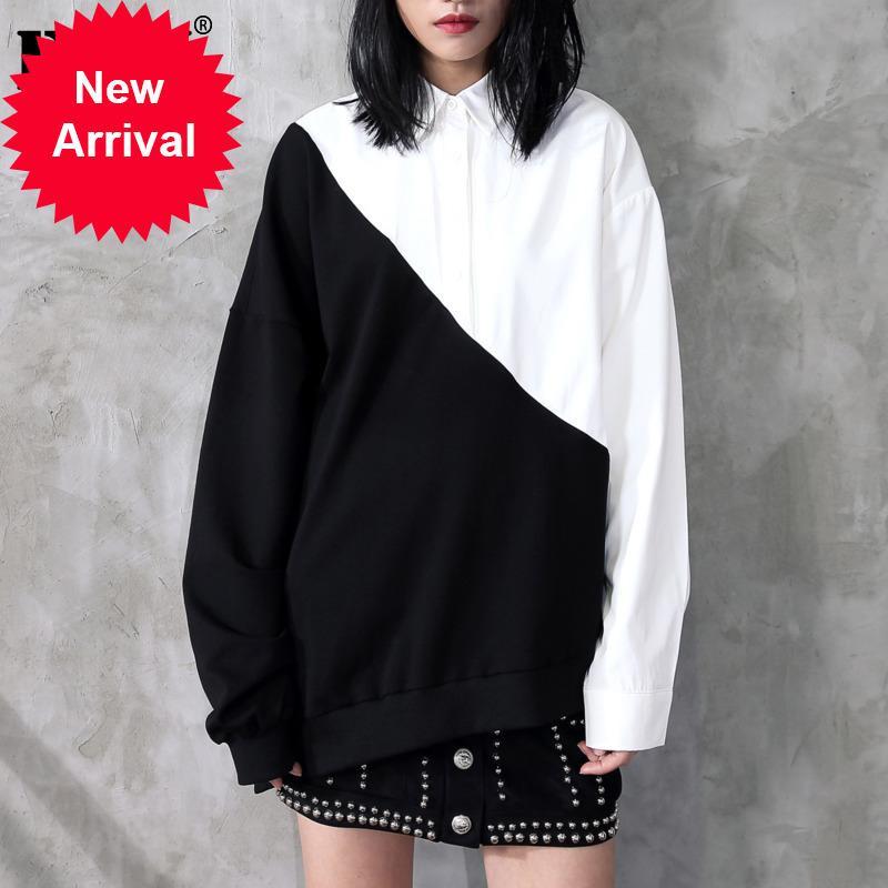 [Eam] 2020 Vente chaude NOUVEAU Spring revers Noir Hit Blanc Couleur Irrégulière Loge Loable Shirt Long T-shirt Femmes Blouse Marée Mode JC319