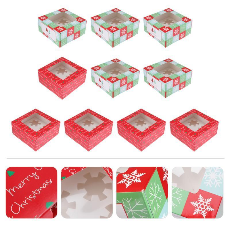 10pcs caixas de cupcake de natal 4 cavidades caixa de embalagem de bolo para presente