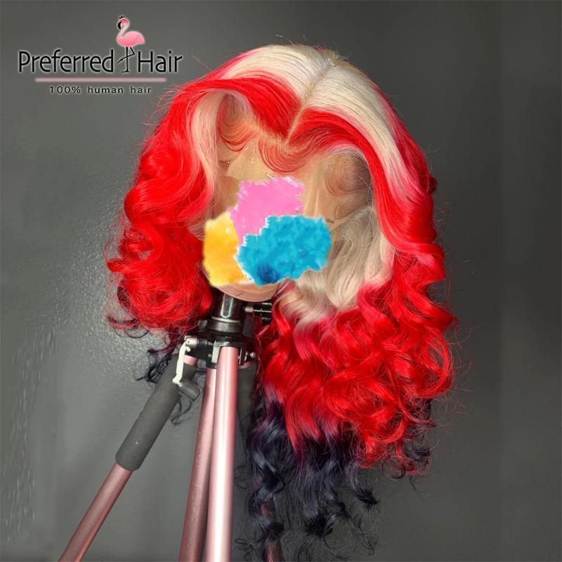 레이스 가발 선호 613 빨간색 하이라이트 가발 Pre Plucked 프론트 브라질 레미 블루 흑인 여성용 인간의 머리카락