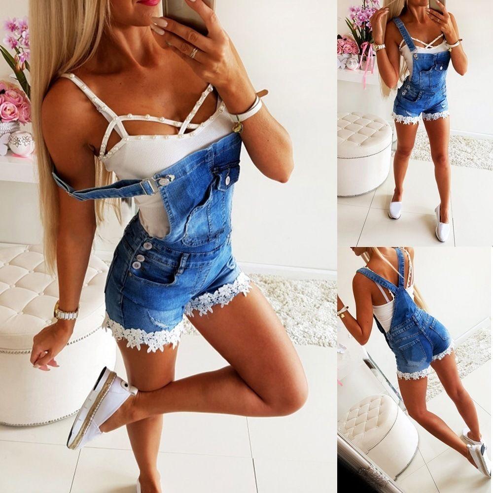 Donne Estate Denim Tuta Floral Hemb Stitching Jeans Brevi tutili Tute Plus Size Bib Bodysuits T200704