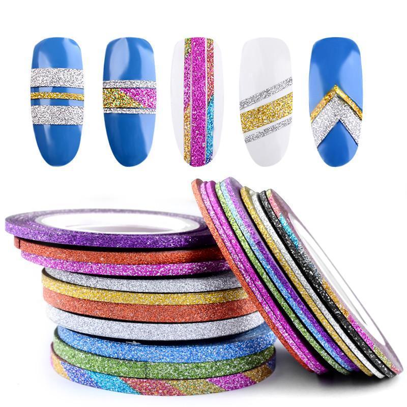 Stickers décalcomanes 10 rouleaux scintille ongle d'ongle à bandes de bande de ruban adhésif autocollant décorations 1mm / 2mm / 3mm DIY auto-adhésif auto-adhésif 3D outils de manucure