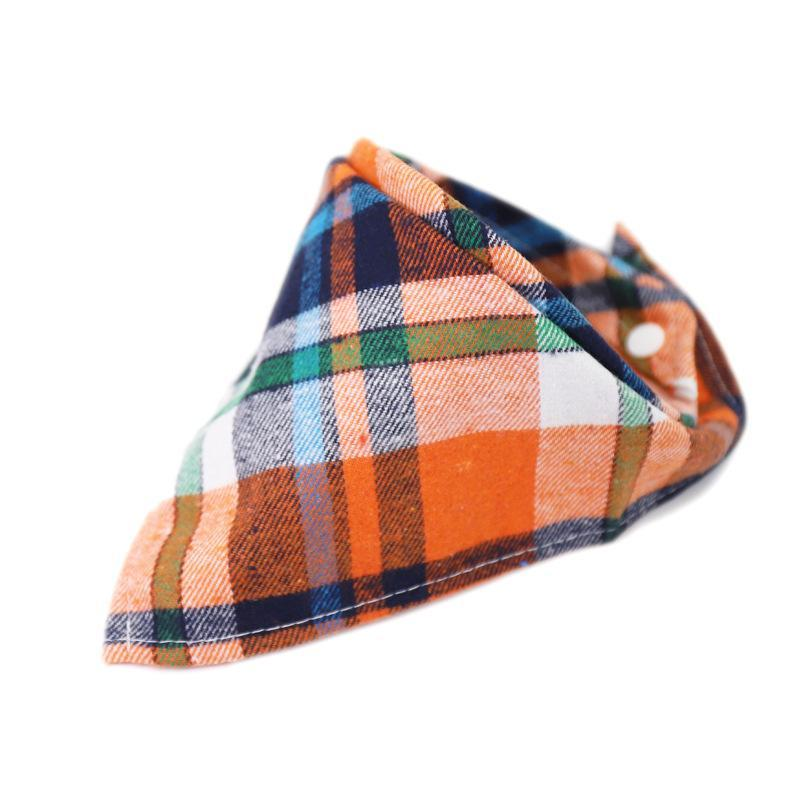 Bouton Snap Plaid Modèle Plaid Bouse Multi Couleur Bébé Bébé Coton Triangulaire Écharpe Triangulaire Automne Hiver Burp Serviette Chaud Nouveau 1 5TT P2