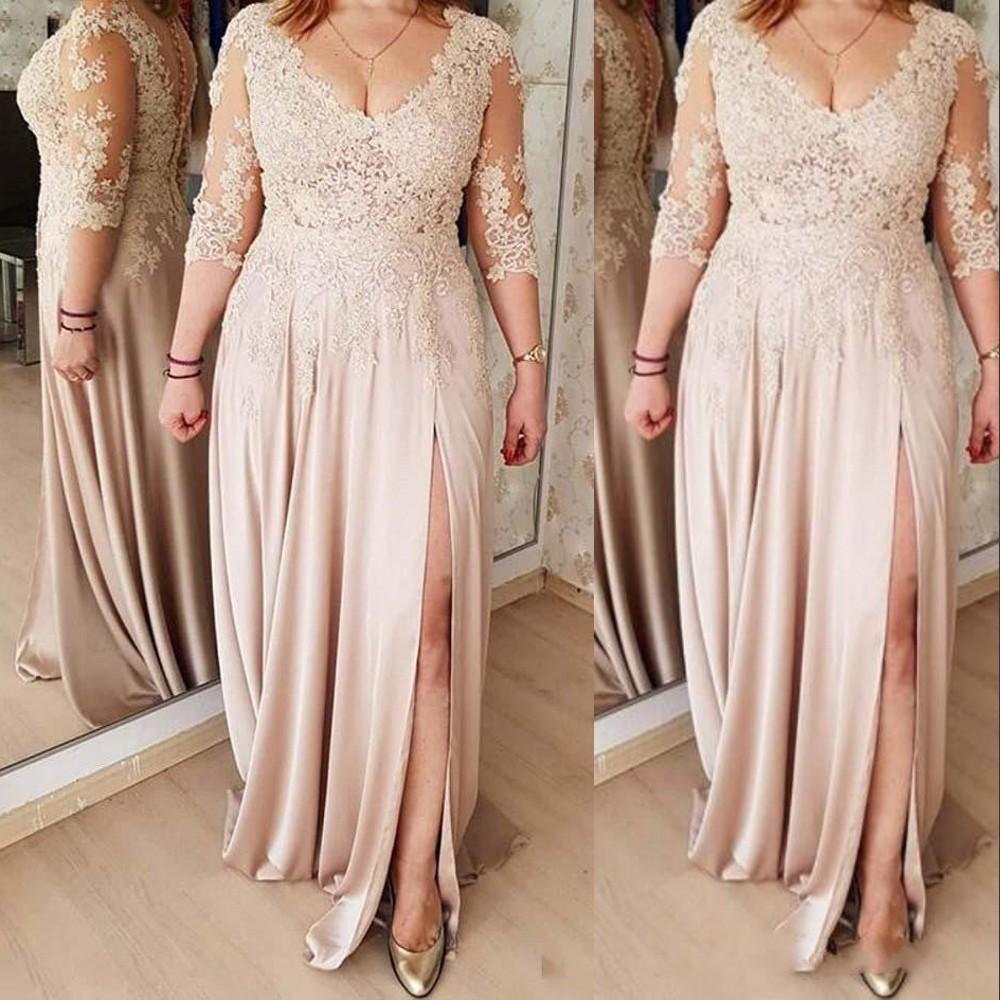 섹시한 샴페인 신부 드레스 V 넥 이브닝 드레스 긴 소매 레이스 아플리케 높은 분할 플러스 크기 파티 가운 댄스 파티 드레스