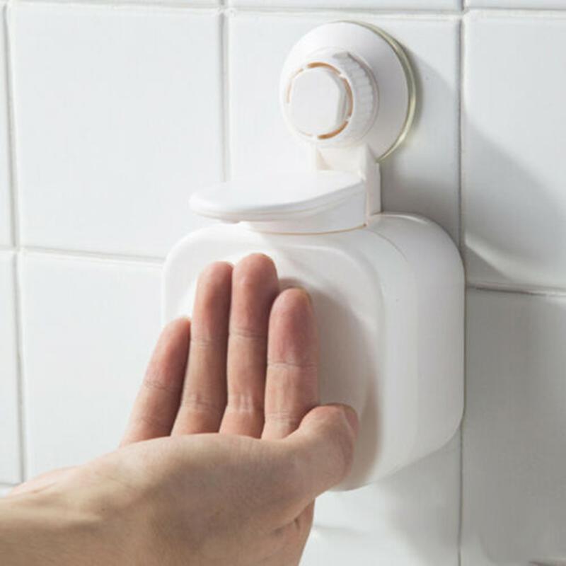 Dispensador de sabão líquido banheiro copo de ventosa montada caixa impermeável espaço de imprensa de plástico salvar banho suprimentos # G1