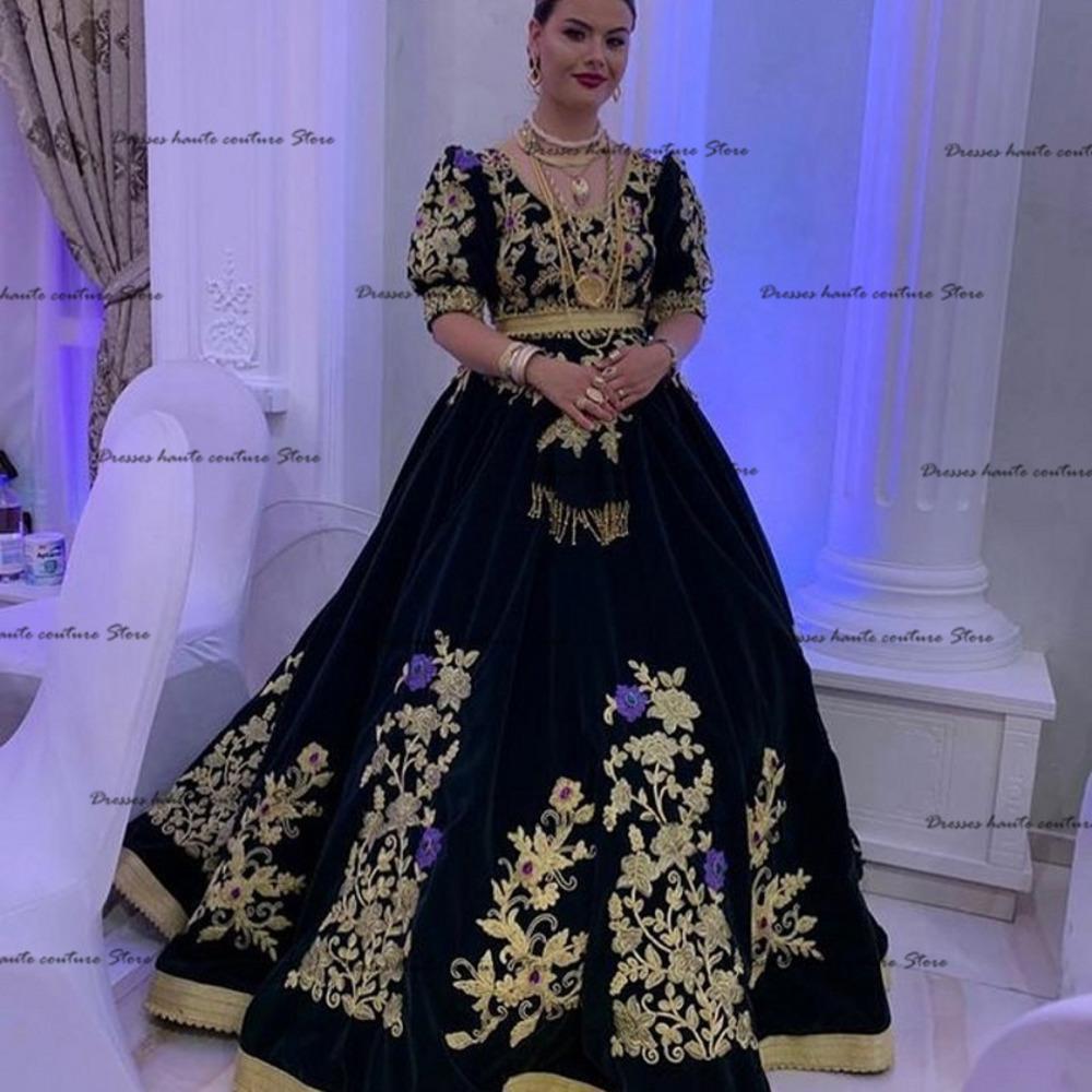 Black Samt Formale Abendkleider Plus Größe 2021 Schatz Halbhülse Elegante Spitze Applique Kaftan Kaftan Arabische Prom Kleider J1208
