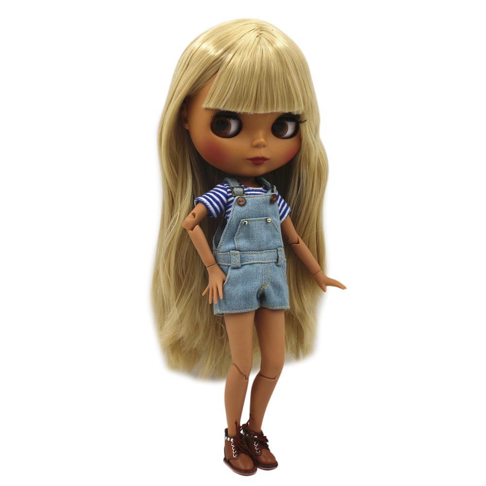 Специальная цена Blyth Body Body обнаженная кукла прямые светлые волосы с / без ударов новая матовая раковина темная кожа 30см подходит для DIY lj200827