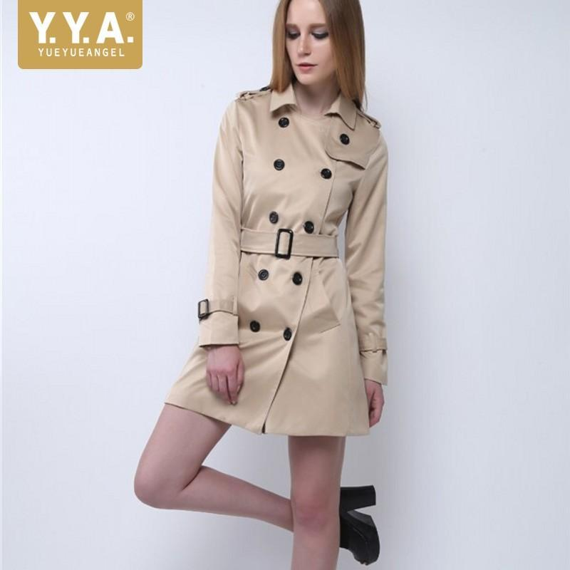 Womens Khaki Slim Fit Trench Double Breasted Sashes Office Ladies Long Manteau Trench Coat Autumn Turn Down Collar Windbreaker