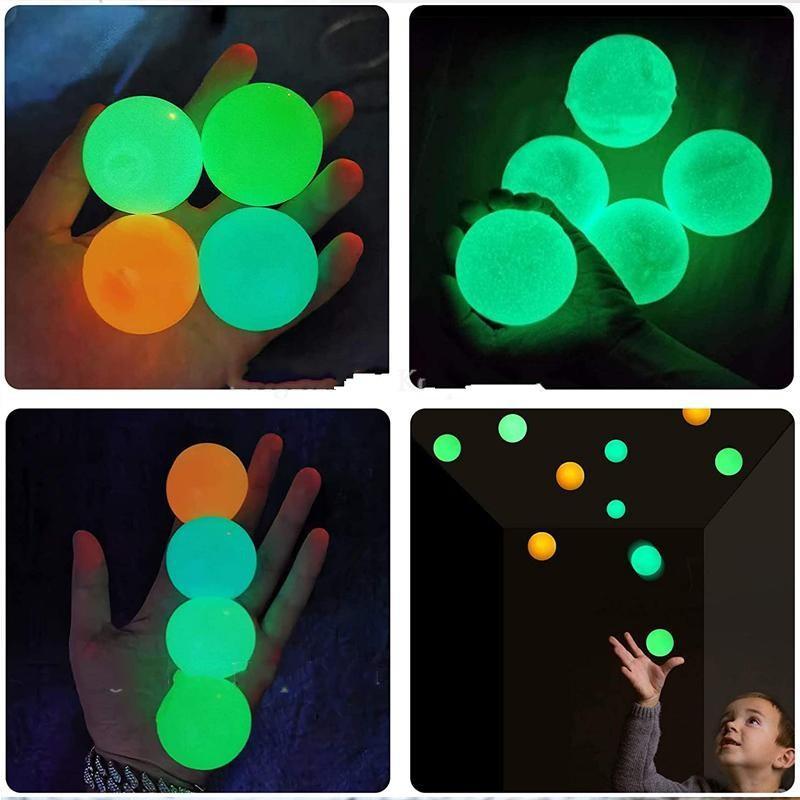 Deckenkugeln lumineszierende Spannungsreliefe klebrige Kugel Glühstock an der Wand und fällt langsam squishy Glimmspielzeug für Kinder Erwachsene