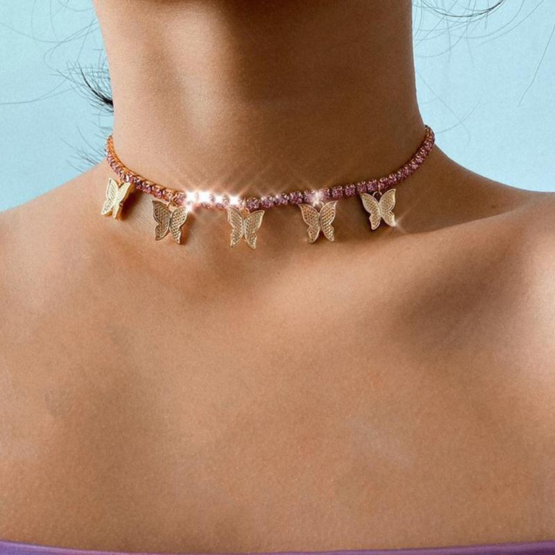 Mode Femmes Bijoux Papillon Pendentif Collier Femme Strass Strinest Déclaration Cristal Charms Collier Collier Cadeau