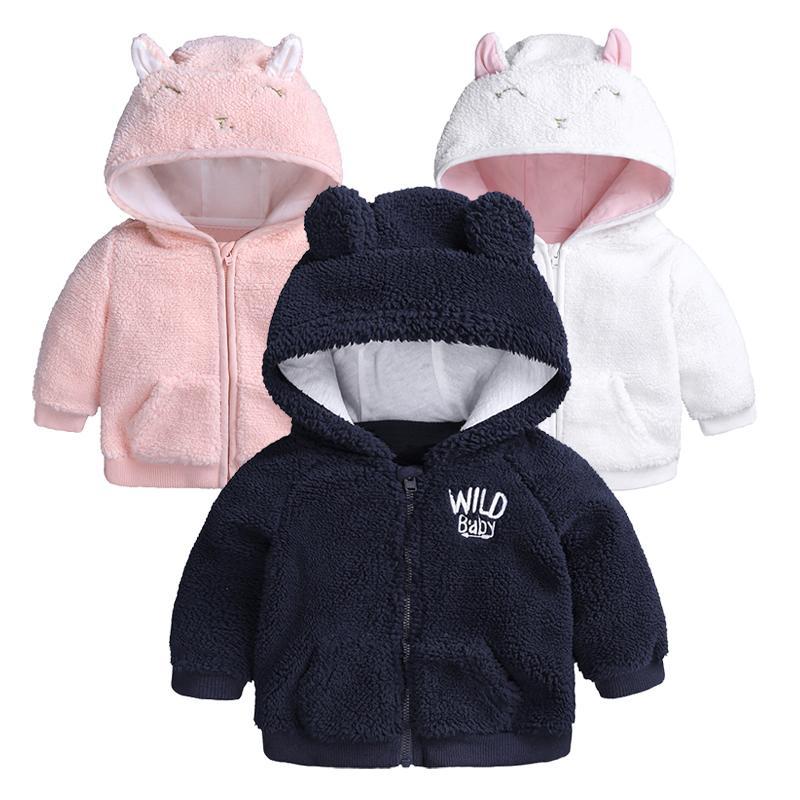 Cute Baby Vestiti Giacca Giacca Cappotto Autunno Inverno Flanella Flanella Calda Ragazzi Capispalla Bambini Neonato Cappuccio Bambini Neonati Bambini Neonati Vestiti infantili Y200831