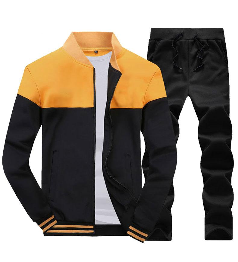 Мужчины устанавливают мода осень весенний спортивный костюм толстовка + спортивные штаны 2 шт. Мужская одежда стройная мужская трексуивка