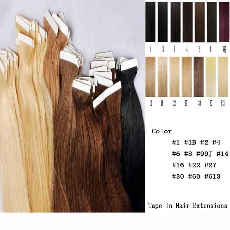Cinta en la piel 4 cm Ancho 10 '' - 26 '' 2.5g PC 40pcs 100g 100g Indian Indian Piel Piel Remy Tape en las extensiones de cabello humano