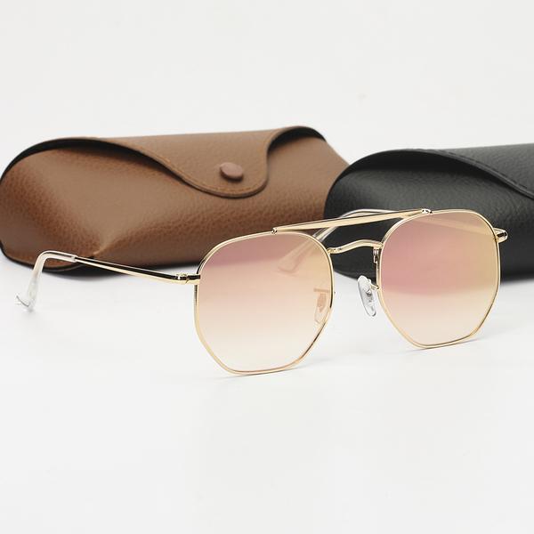 Lenti UV Sole Occhiali da sole Ray Protection Case Fashion Shield Scudo esagonale Top Uomo Glasses con Womens QRCAO