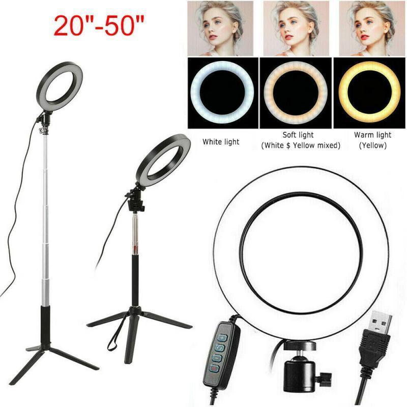 Bague LED Studio Light 3Modles Photo Vidéo Video Lampe Dimmable 360 Tournez Trépied Selfie avec porte-photo Téléphone de caméra