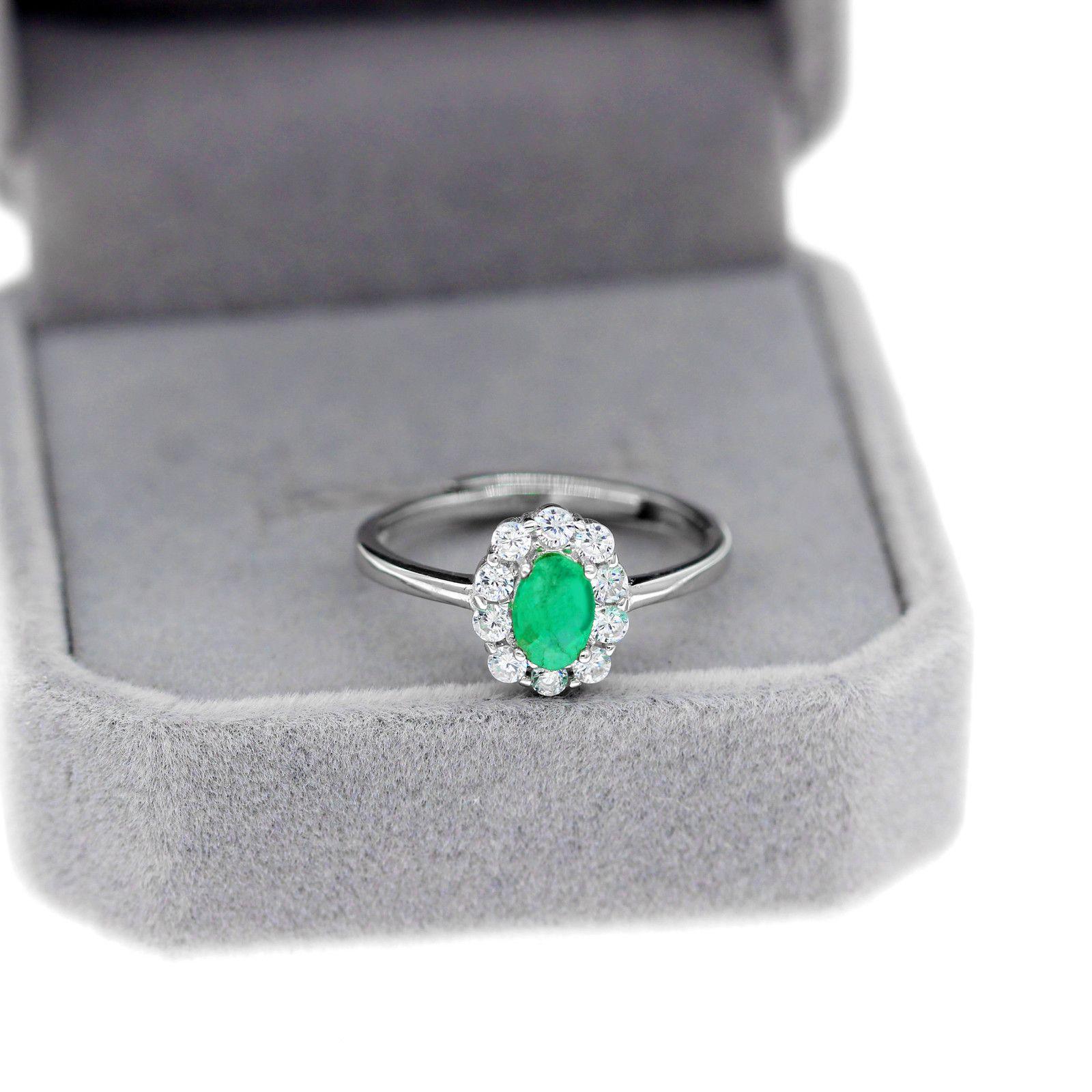 Uloviedo зеленое изумрудное кольцо, цветочные кольца, стерлинговые серебро 925, 4 * 6 мм сертифицированные драгоценные камня свадебные украшения для женщин Q1116
