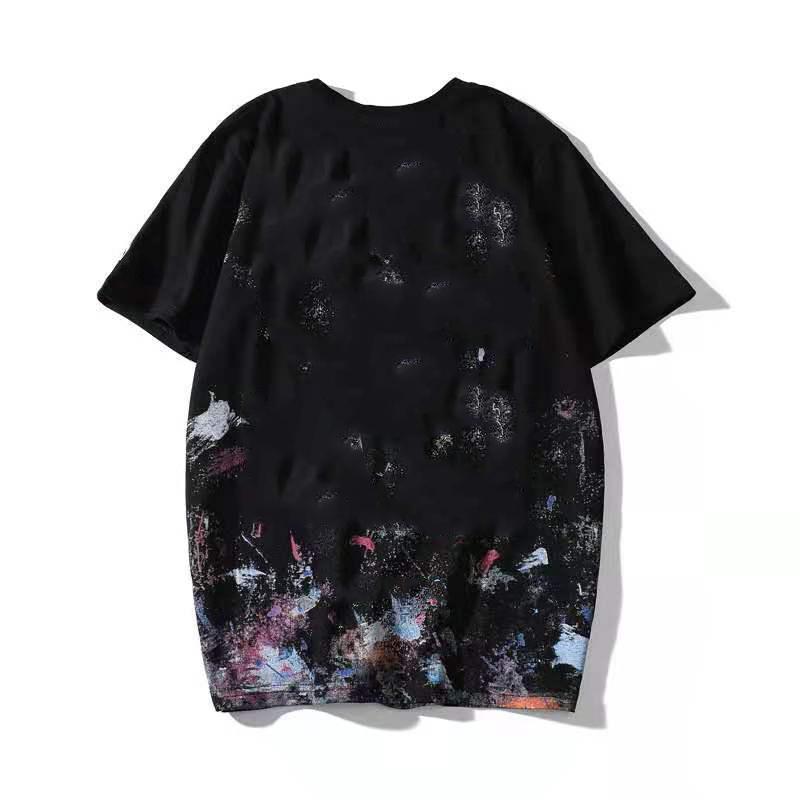 20 Avrupa ve Amerikan trendy marka t-shirt tasarımcı havai fişek grafiti kısa kollu t-shirt erkekler ve kadınlar çift dibe gömlek t-shirt