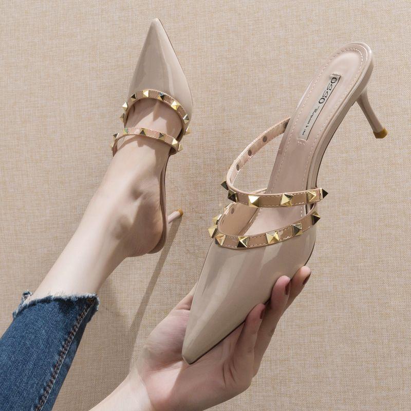 Scarpe calde-sandid-sandid femmina fuori semi-drag 2019 nuova moda tacco alto con tacco ad alto puntello a spillo scarpe da stilotto