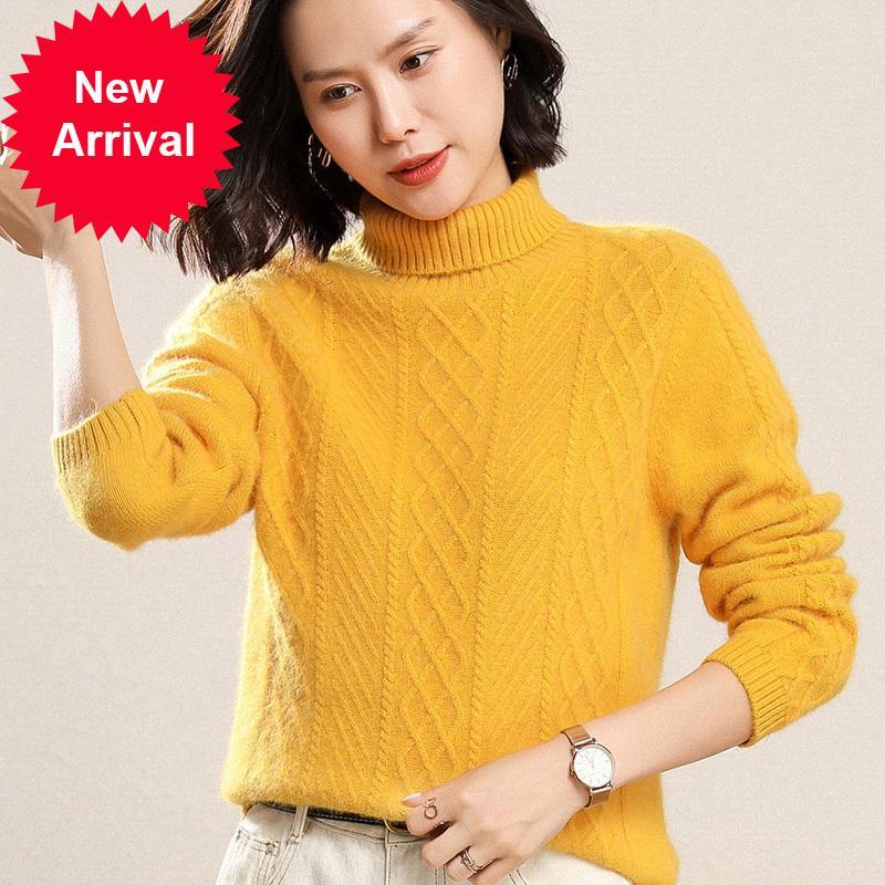 2021 Новая женская водолазка Высокая фаршированная норка Cashmere кабель пуловер мягкий волосы уютный сетчатый джемпер английский стиль EFP7