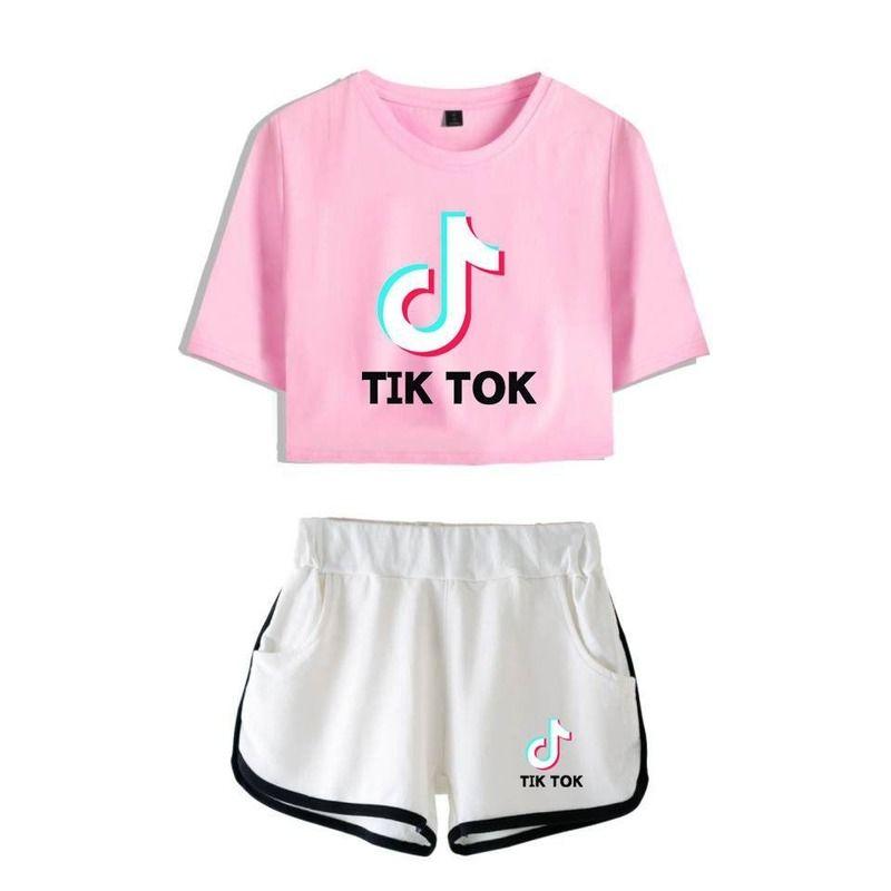 2020 New Factory Direct Sales Tik Tok Loose Large Size Short Sleeve Short Sleeve Shorts Suit