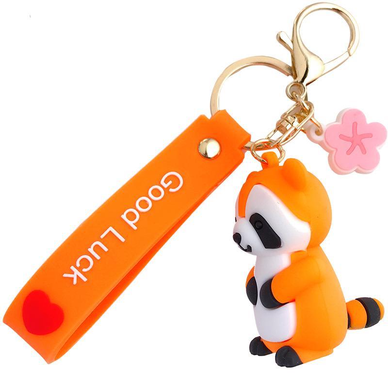Versione coreana di Ins Epossidy Little Raccoon Keychain Cartoon carino Schoolbag Pendente Car Key Catena Catena Anello Regalo all'ingrosso