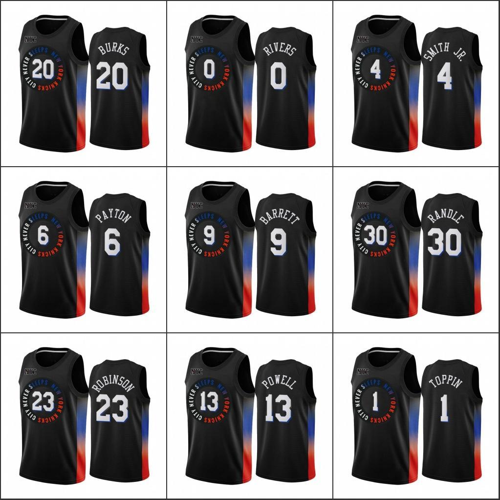 New YorkKnicksMen Obi Toppin Myles Powell Dennis Smith Jr. Alec Burks RJ Barrett BlackCityEdition2020-21 Jersey