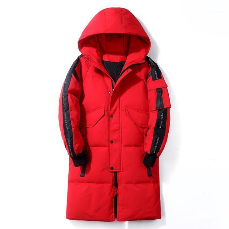 2020 Hommes d'hiver Blanc Canard Down Veste à capuchon à capuchon long manteau coupe-vent épais épais vêtements chauds