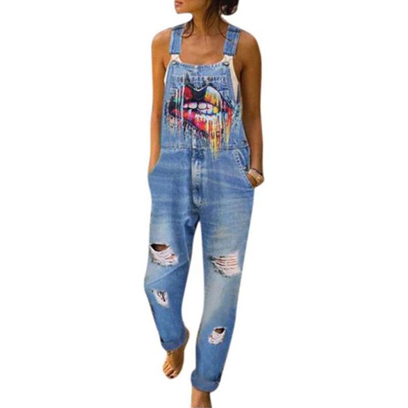 Женские летние уличные комбинезоны брюки напечатаны зубы женские выдолбленные джинсы моды