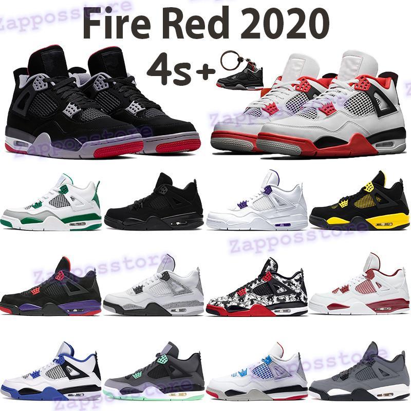 Jumpman красного огня 2020 баскетбола обуви 4 4s мужских кроссовок разводили черного кот металлического фиолетовый сосна зеленый белого цемент чисто денег мужчин тренеров