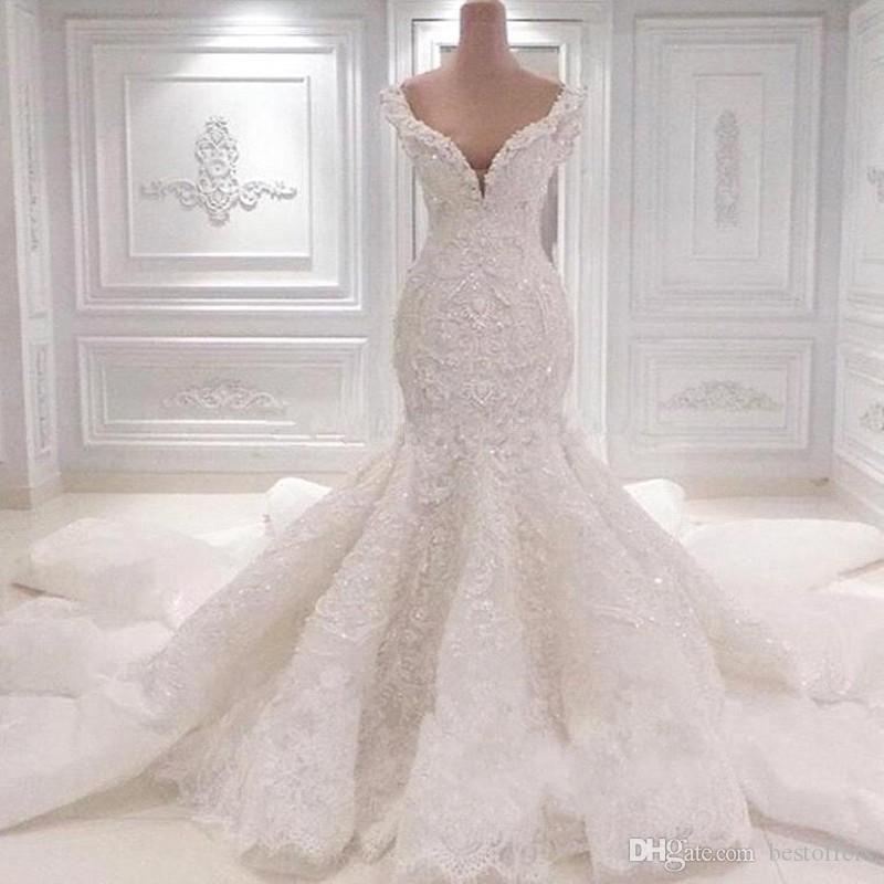 2021 Luxury Mermaid Saudi Arabia Wedding Dresses Scoop Neck Full Lace Appliqued Crystal Long Cathedral Train Wedding Bridal Gowns BC0221