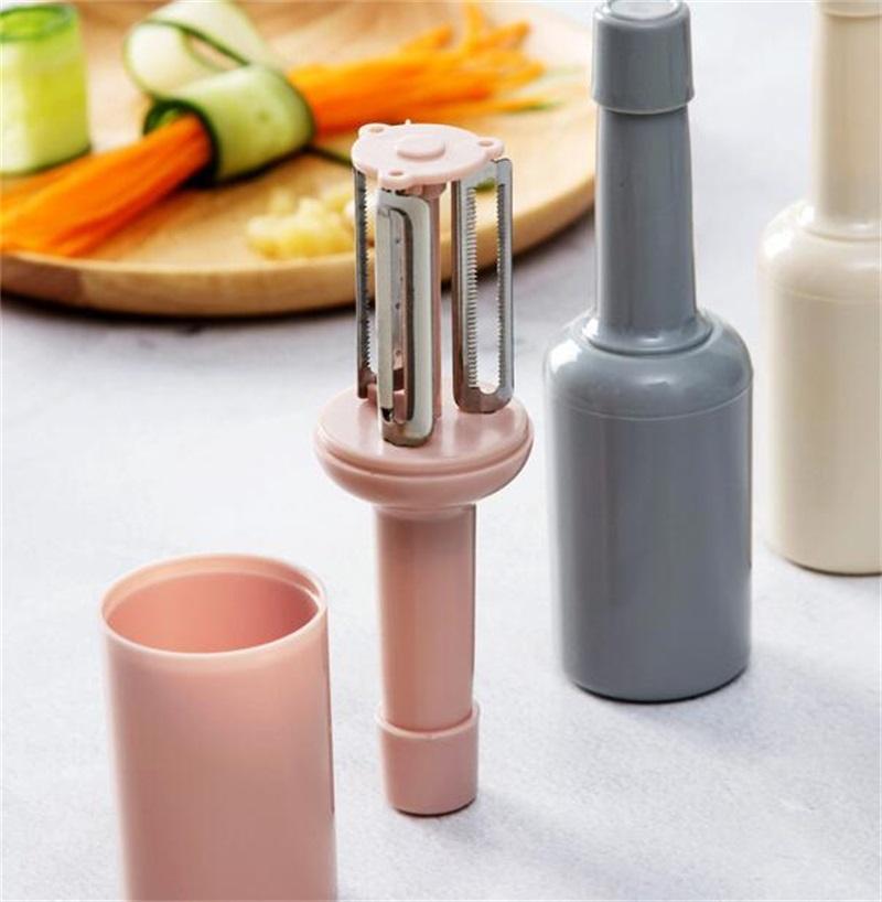 Con cubierta Fruta Cuchillo vegetal Color sólido Forma de botella Cutter Accesorios de cocina Acero inoxidable Cuchilla Nuevo 2 7QS L2
