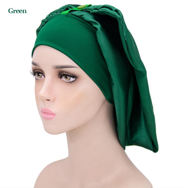 النساء طويل الساتان المفاجئة bonnets الصلبة واسعة مرونة الفرقة دش كاب ليلة النوم قبعات زر معدنية أغطية الرأس الساخن بيع TB-216