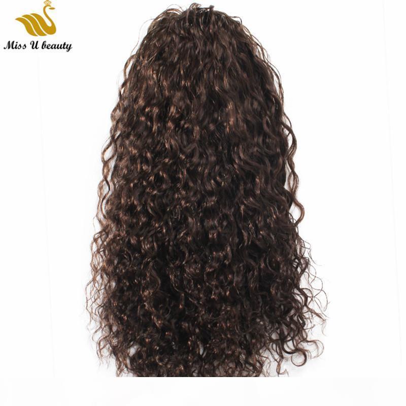 Marrón oscuro # 2 color de color rizado extensiones de caballo de caballo remy cabello humano cabello lápiz cola de caballo con clips 10-30 pulgadas ondulado suelto pelo rizado