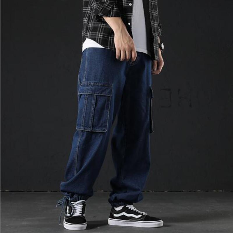 Мужские джинсы 2021 Мужчины Брюки Свободные грузовые джинсовые молния темно-синий