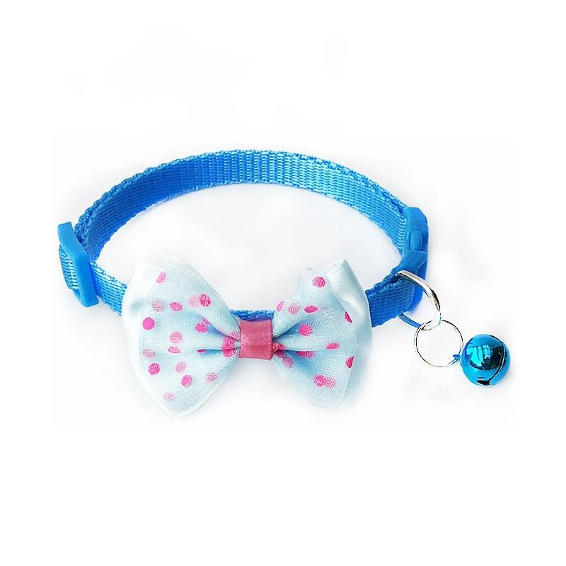 Durable Pet Cats Halskette mit Glocke Dot Printig Runde Polyester Faser Puggy Dekorative Bugkassen Pet Halsband Hohe Qualität 1 15Sr E1